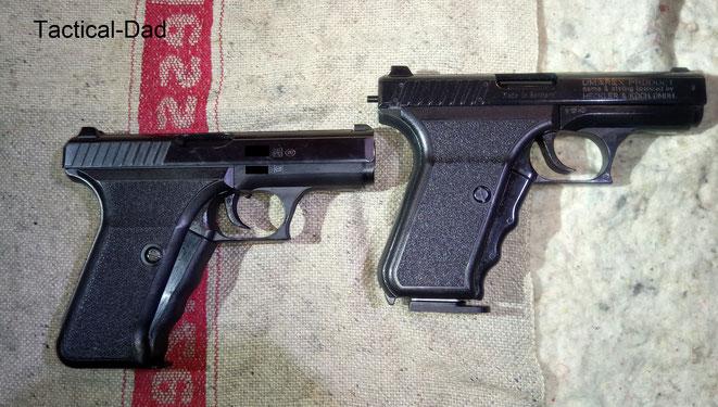 Links die H&K P7 und rechts die Umarex SP9.