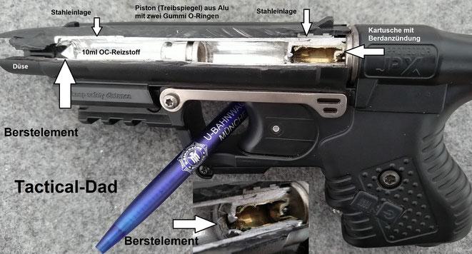 Schnittmodell der JPX Jet Protector Pfefferpistole von Piexon. Die Kartusche treibt den Piston an und dieser drückt den Reizstoff durch die Düse.