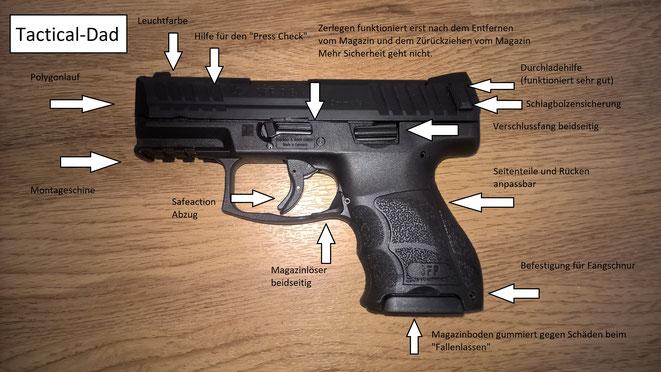 Nüchtern betrachtet ist die Heckler & Koch SFP9 SK die besten und modernste Verteidungspistole!  Das kleine Magazin fasst 10 Schuss und es gibt auch größer Magazine dafür. Wesentlich bequemer ist aber die schmale Wather PPS.