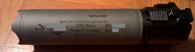 Brügger & Thomet Rotex-V Compact Schalldämpfer aus Stahl mit Schnellkupplung für den Mündungsfeuerdämpfer