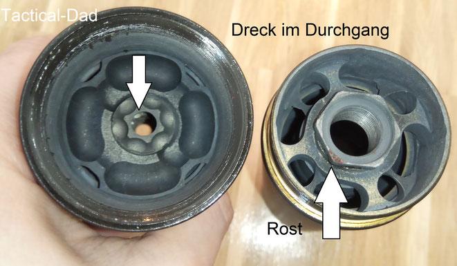 Der Schmauch lässt sich vor allem vom Aluminium nur noch schwer entfernen. Mein Stalon Whisper Schalldämpfer hat sogar an einer Stelle Rost angesetzt.