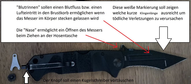 """Die vielen Funktionen des Böker """"Reality Based Blade"""" Messers sind den meisten Besitzern überhaupt nicht bekannt. So ist der Clip z.B. absichtlicht ganz am Ende montiert, dass es fast unsichtbar in der Tasche verschwindet."""