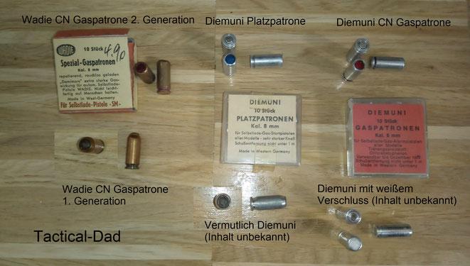 Hier sind sehr seltene 8mm Kartuschen von Wadie und Diemuni. Sie waren die ersten 8mm Kartuschen die überhaupt hergestellt wurden.