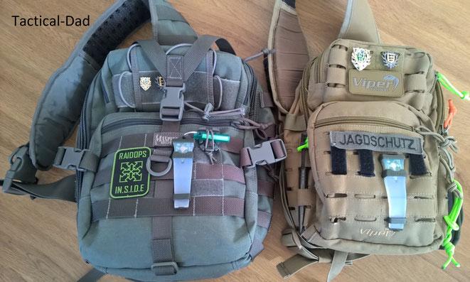 Maxpedition Gearslinger und Viper Sling Bag im Vergleich.