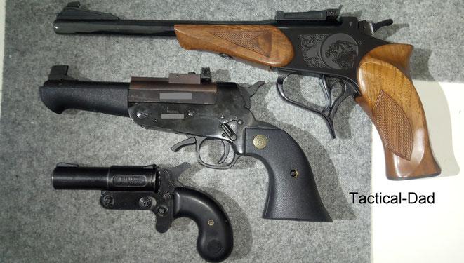 Das ist meine .38er Contender Pistole. Man bekommt sie auf die gelbe WBK ohne dass sie auf das Regelbedürfnis angerechnet wird.