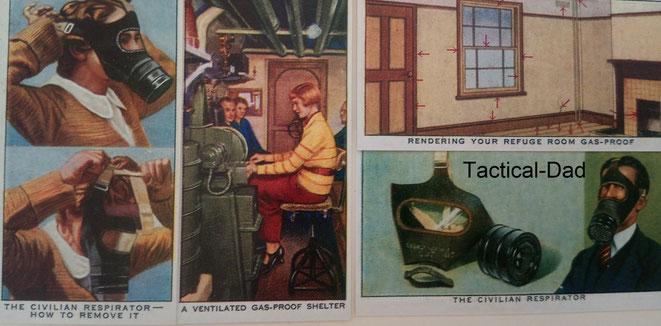 Englische Zigarettenbilder aus dem 2. Weltkrieg. Die Angst vor Giftgas war sehr groß, wegen den Erfahrungen aus dem 1. Weltkrieg.