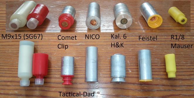 Größenvergleich unterschiedlicher Signalmunition. Von 7mm Leuchtsternen bis zum Kaliber 6.