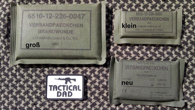 Früher hatte jeder Bundeswehr Soldat das große und kleine Verbandpächchen und das Dreiecktuch dabei. Später kam ein neues Verbandpäckchen, mit einer weißen Binde!?