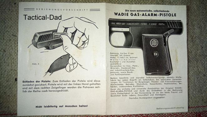 Wadie Gas-Alarm-Pistole Anleitung. Entschuldigt bitte die schlechte Qualität der Fotos :-/