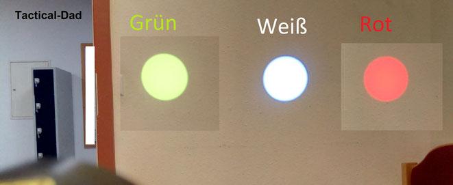 Wie man in diesem Vergleich, mit den Umarex OD40 Farbfiltern sieht, schlucken die Filter der Jagdlampe wirklich Leuchtkraft. Aber ich bezweifele, dass Lampen mit farbigen LEDs mehr Licht liefern.