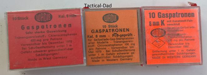 CN Gaskartuschen. Die Haltbarkeit beträgt 5 Jahre. Die rechte Schachtel mit BKA Zulassung wird also etwa 1977 hergestellt worden sein.