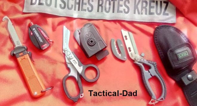 Eichkhorn LL80 Fallmesser, SWISS+TECH BodyGard, Leatherman Raptor und CRKT El Santo Rettungsschere.
