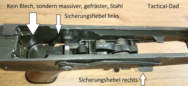 Ein großer Nachteil aller AK Varianten ist, dass zum Entsichern umgegriffen werden muss. Die Vektor und Galil Gewehre haben dieses Problem gelöst.