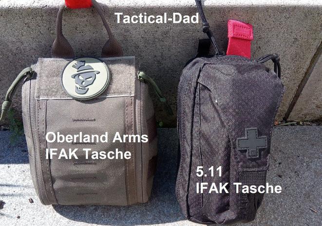 Das hier sind meine beiden IFAK Taschen, links die Tasche von 5.11 und rechts die fertig befüllte Tasche von Oberland Arms.