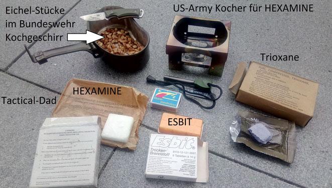 Bei den internationalen Streitkräften wurde nur sehr selten Heamine oder Trioxane Brennstoff beschafft. Viele verwenden aber seit langer Zeit ESBIT (Hexamethylentetramin).