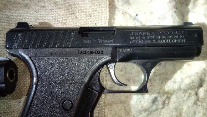 Für die SP9 hat Umarex die Lizens erhalten Heckler & Koch auf die Waffe schreiben zu dürfen.