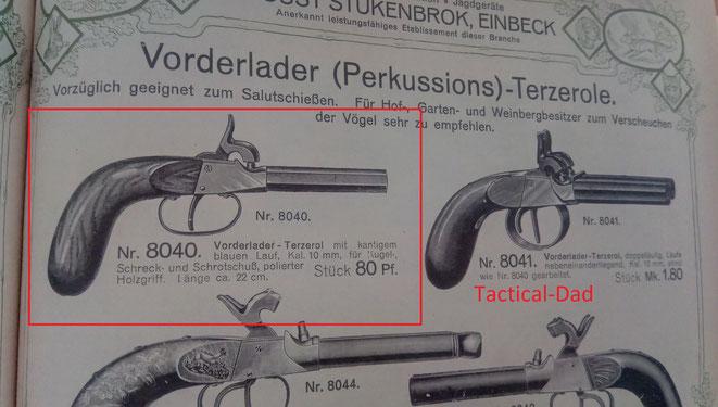 Die Terzerol Pistolen waren hauptsächlich zum Verscheuchen von Vögeln gedacht. Sie konnten aber auch Schrot und Kugeln verschießen. Die Läufe waren aber oft ohne Züge.