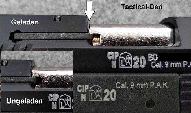 """Wie Ihr hier sehen könnt, schließt der Verschluss nicht ganz, wenn die Waffe geladen ist. Das """"L"""" im Beschusszeichen steht für das Beschussamt Lieskovec."""