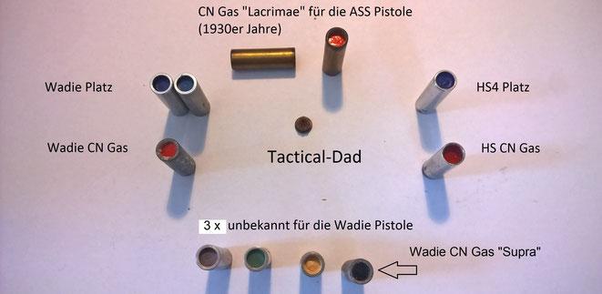 """Die Munition im Kaliber """"8mm Lacrimae"""" wird nicht mehr hergestellt und ist WBK pflichtig. Es gibt davon noch viel mehr andere Kartuschen mit Parfum und Insektenvernichtungsmittel."""
