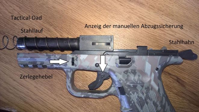 Zum Zerlegen wird, ähnlich wie bei der Glock, der Zerlegehebel nach unten gezogen, dann der Verschluss nach hinten und oben abgehoben und vorgelassen.