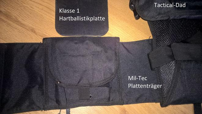 Da ich keine günstigen SK3 oder SK4 Keramikplatten für die Seite gefunden habe, hab ich jetzt SK1 Kevlarplatten von Secotec in der Seite von meinem Plattenträger.