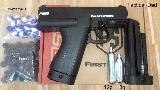 Die First Strike FSC Pistole ist aktuell vermutlich die beste Paintballwaffe zur Selbstverteidigung, neben dem Tippmann TCR.