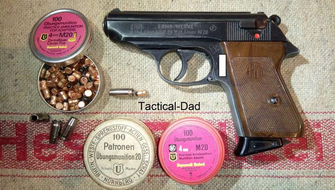 """Die Erma ERP74 (Erma Repetier Pistole) im Kaliber 4mmM20 ist eine sogenannte """"geborene"""" 4mm Waffe und ist daher von der Bedürfnispflicht frei gestellt."""