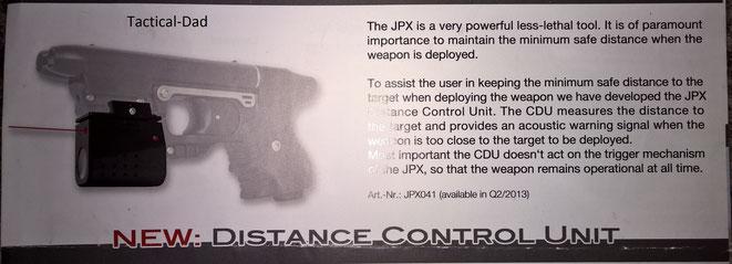 """Ein altes Werbeprospekt vom JPX, die """"Distance Control Unit"""" ist nie auf den Markt gekommen. Sie hätte bei einer gefährlich kurzen Entfernung zum Ziel Alarm gegeben."""