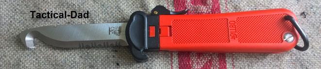 """Eickhorn LL80 Rettungsmesser. Normalerweise sind Fallmesser verboten, aber dieses ist laut BKA erlaubt, weil es keine """"Waffeneigenschaft"""" hat."""
