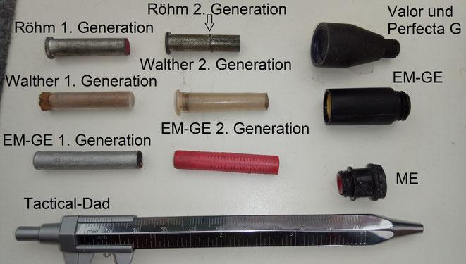 Übersicht über diverse Vorsatzhülsen mit Tränengas.
