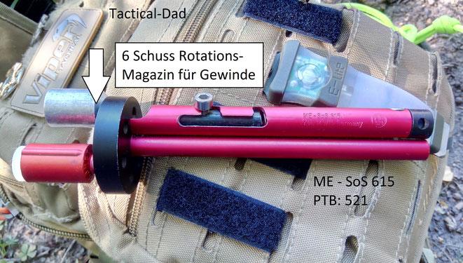 Der Signalstift ME SoS 615 mit der PTB Nummer 521 ist aus Alu gefertigt, hochwertig und hat ein 6 Schuss Rotationsmagazin.