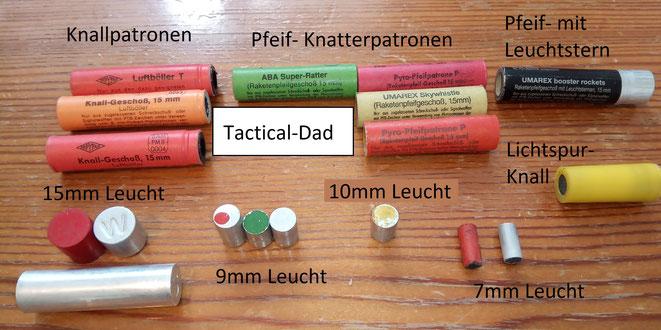 Mit Schreckschusswaffen kann man unterschiedliche Signalmunition verschießen. Optische und akustische. Alle Patronen mit Knallsatz sind aber erlaubnispflichtig.