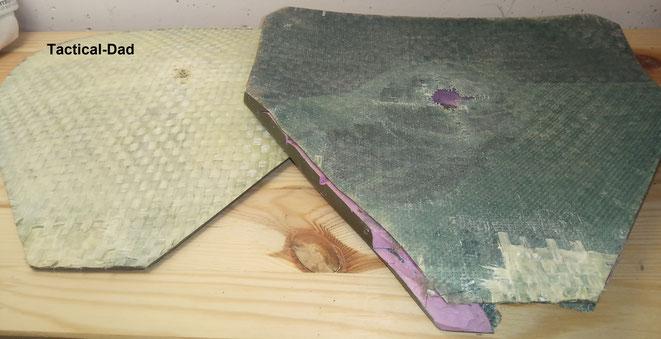 Das Gewebe innen in der Platte aus Glasfaser, die Platten bestehen aus unterschiedlichen Schichten.