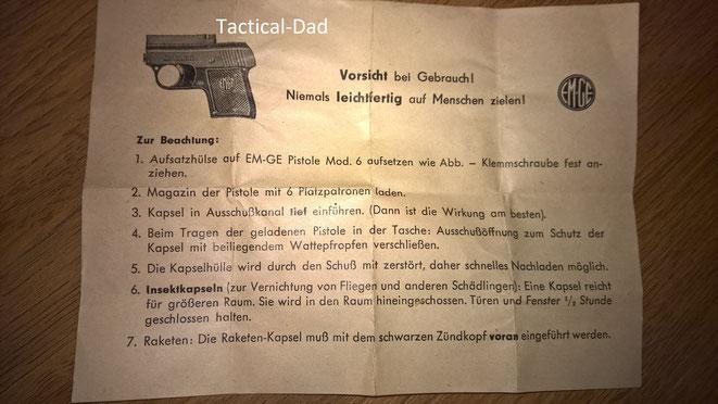 Für die EM-GE Pistole Modell 6 gab es die sehr seltene Aufsatzhülse.