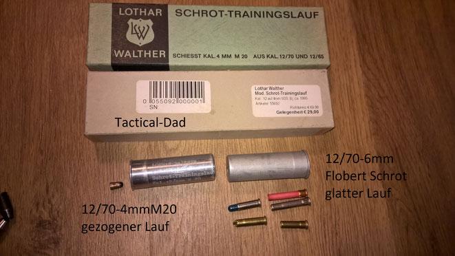 Schrot Trainingslauf 12/70 auf 4mmM20 und Schrot Adapter um mit 12/70 Flinten 6mm Flobert Schrot Patronen zu verschießen.