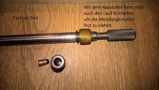 Lothar Walther Einstecklauf mit Ausstoßer und Reduzierpatrone und 4mmM20 Patrone.