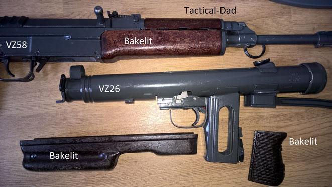 Ich finde das Bakelit mit den Sägespänen am VZ58 Dekogewehr einen interessanten Werkstoff. Auch die VZ26 MP hat einen entsprechenden Handschutz.