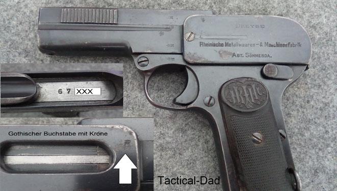 """Meine Dreyse 1907 Pistole im Kaliber 7,65mm habe ich für unter 100 Euro, als """"wartime commercial"""" in einem Auktionshaus erstanden. Lustigerweise wurde dort aber übersehen, dass sie sehr wohl eine authentische Abnahme der Kaiserlichen Armee besitzt."""