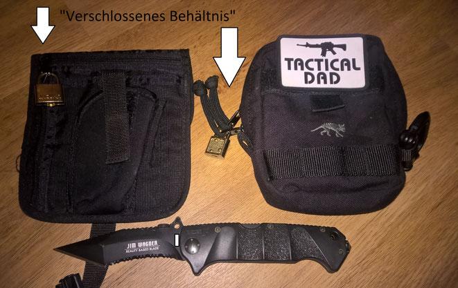 Der leidige §42a WaffG verbietet das Führen von Einhandmessern und Hieb- und Stoßwaffen. Außer man hat sie in einem verschlossenen Behältnis.