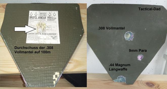 """Die Bristol SK4 Keramikplatte ist keine """"stand-alone"""" Platte. Beim Test ohne zusätzliche Weichballistik hielt sie eine .44 Mag. aus einer Langwaffe auf, die .308 Winchester schlug jedoch durch."""