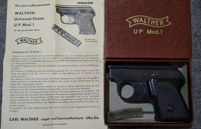 Walther UP1 Gaspistole mit Schachtel und Anleitung.