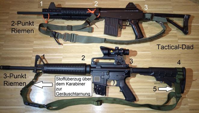 Oben seht Ihr den Oberland Arms 2 Punkt Riemen an meinem Galil. Unten einen 3 Punkt Riemen am AR-15, was sich sehr gut bewährt hat. Die Nummern sollen Euch zeigen an welchen Positionen die Riemen befestigt werden können.