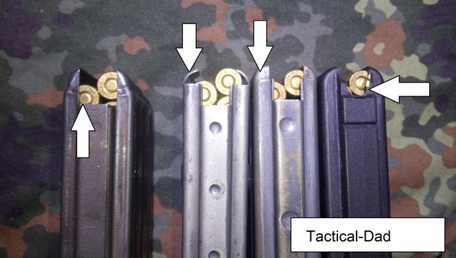 Links ist ein europäisches STANAG Magazin. Das zweite von links ist ein sehr altes Colt AR15 Magazin, mit weit offen liegenden Magazinlippen. Rechts daneben ein wesentlich besseres US Army M16 30 Schuss Magazin und ein OA-15 30er.