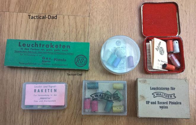 Wirkliche Raritäten: 7 und 9,5mm Leuchtsterne aus unterschiedlichen Epochen. Es gibt auch 9mm, 10mm, 15mm und 18mm Leuchtsterne.