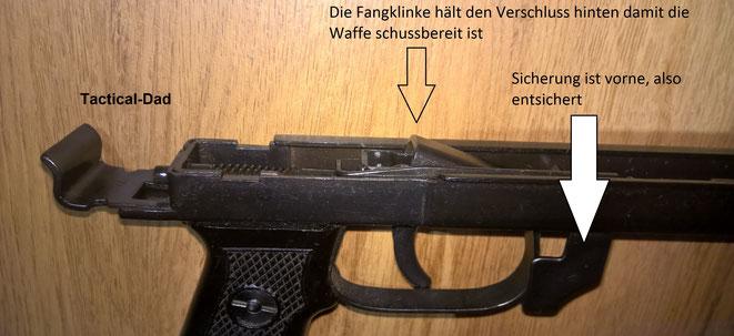 Da die PPS-43 eingeklappt über 60cm lang ist gilt sie als Langwaffe und der Abzugsmechanismus musste nicht deaktiviert werden.