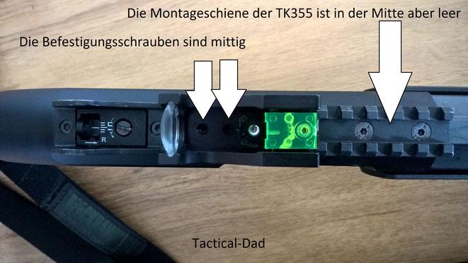 Da die Weaverschiene der TK-355 Repetierflinte mittig leer ist muss man bei der Montage von machen Anbauteilen aufpassen und sie gut befestigen, damit nichts verutscht.