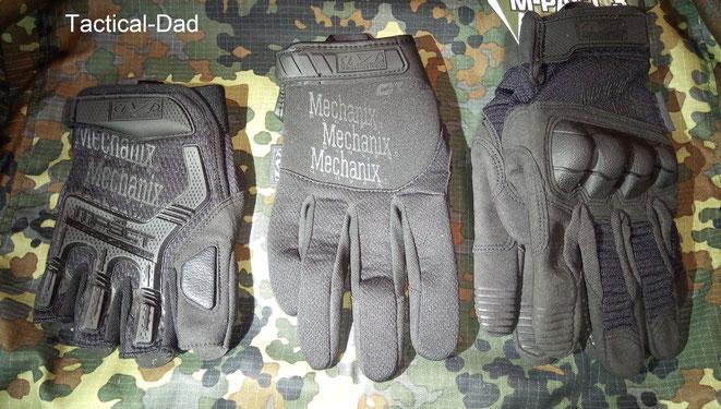 Die Mechanix Halbfinger-Handschuhe links waren sehr angenehm zu tragen. Die Handschuhe rechts sind für das bedienen von Smartphones optimiert und haben gut schützende Protektoren.