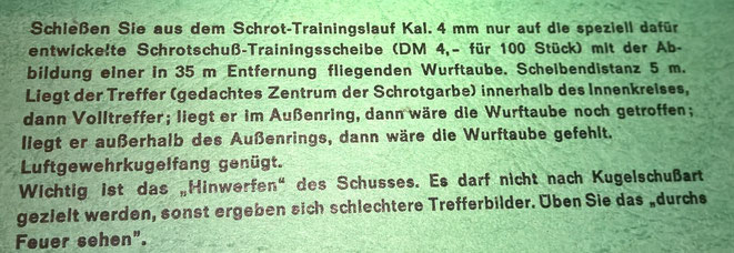 Anleitung zum Schrot Trainingslauf von Lothar Walther. Leider habe ich fast keine praktische Erfahrung mit den beiden Reduzierpatronen.