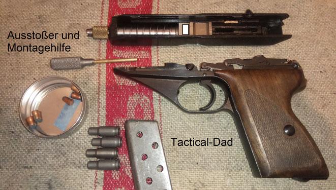 Die Reduzierhülsen funktionierten ohne Zuführstörungen in dieser Mauser HSC aus den 40er Jahren. Dafür ist die Präzision in dieser Kombination miserabel.