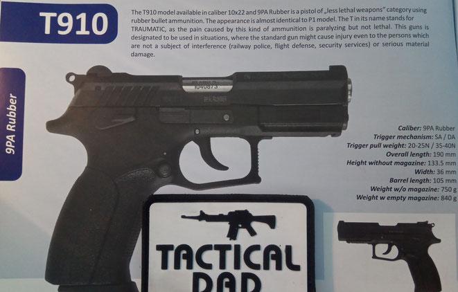 Grant Power T910 Traumatic Pistole im Kaliber 9mm P.A. für Gummigeschosse.